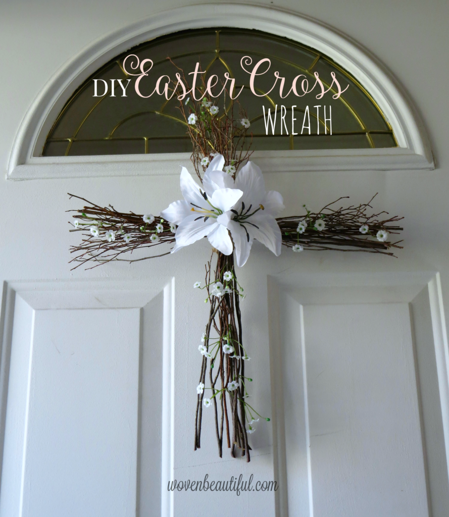 DIY Easter Cross Wreath turtorial at Woven Beautiful. A simple and meaningful craft for this Easter Season!
